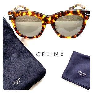 NWT RARE CELINE 41083 Blonde Tortoise Sunglasses